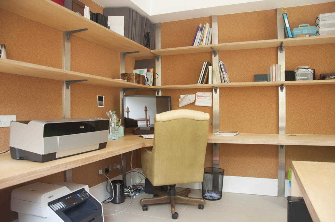 bespoke home office desk and shelves