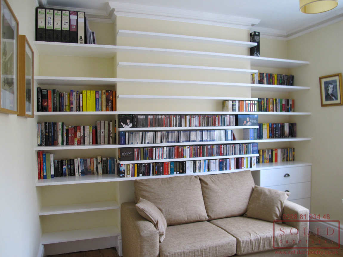 bespoke shelving across fireplace
