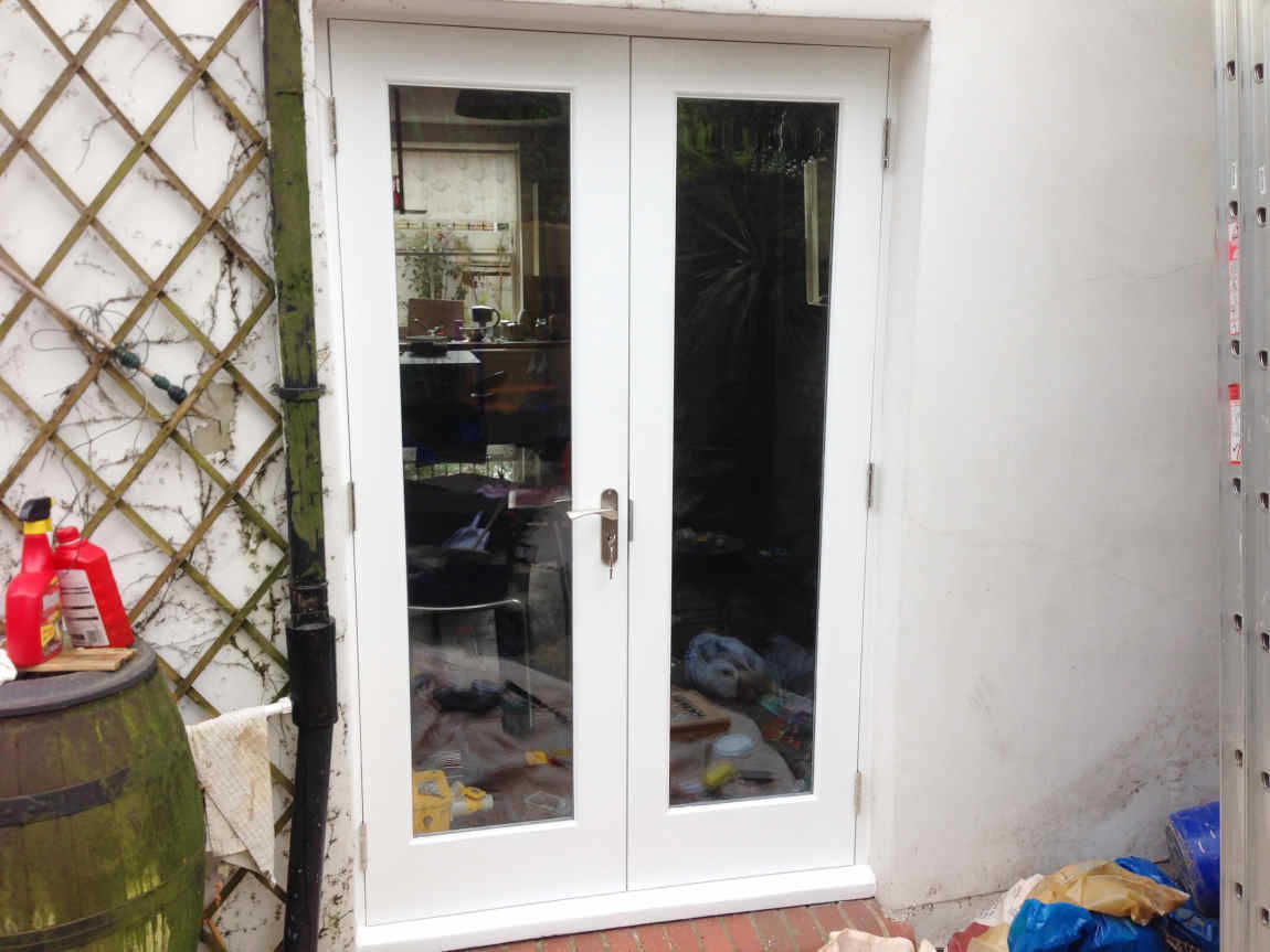 Garden wooden French doors