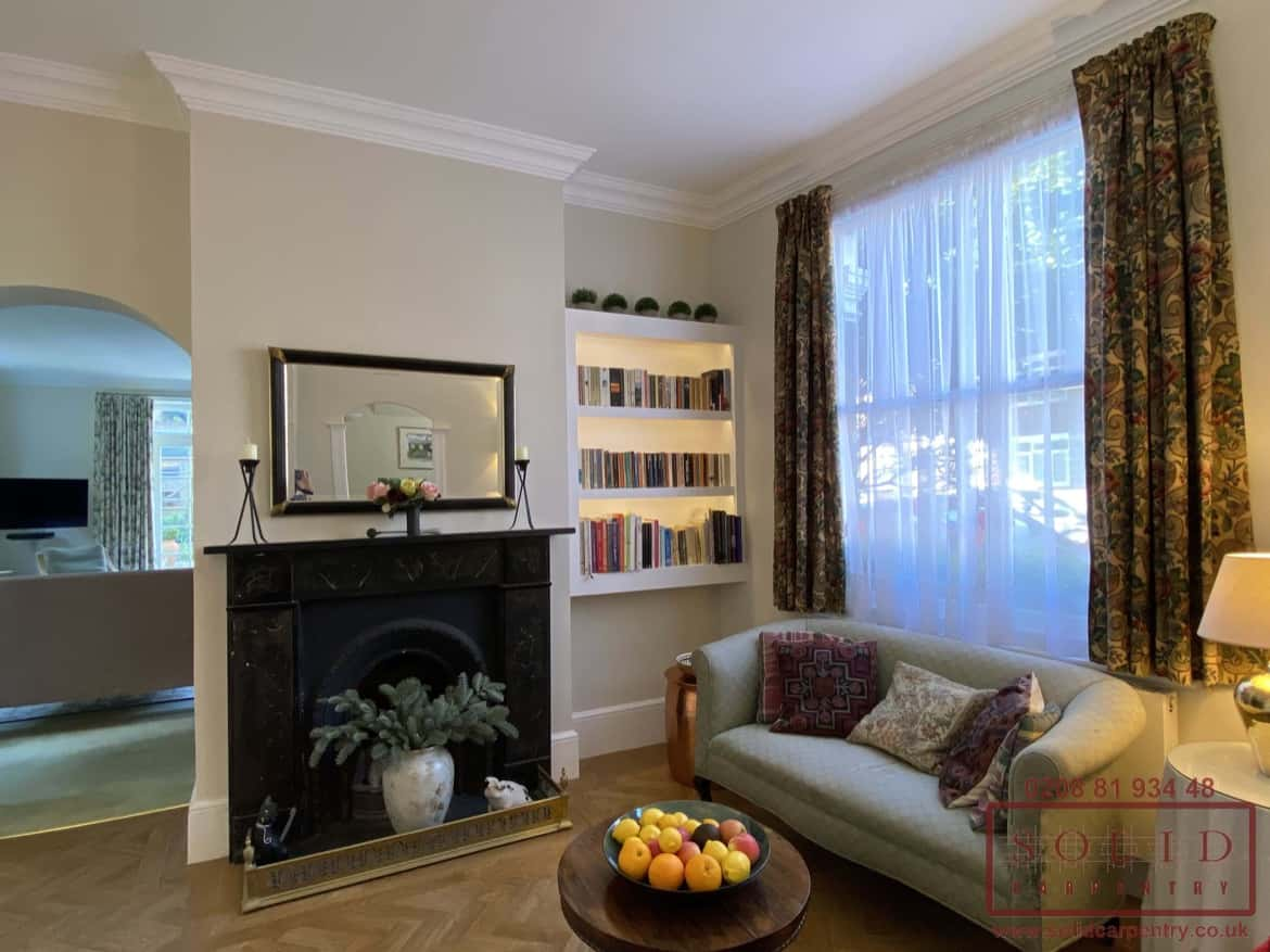 bespoke alcove bookcase with integrated lights