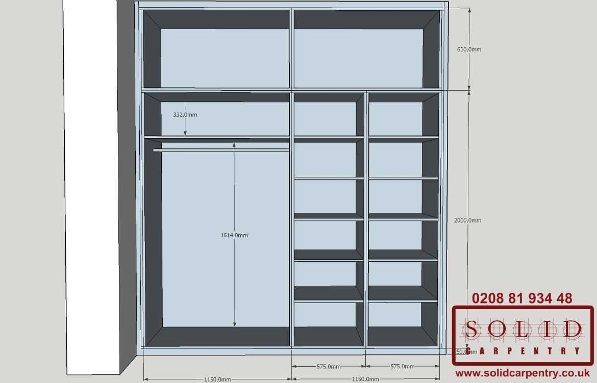 Sketch for custom-built fitted wardrobe