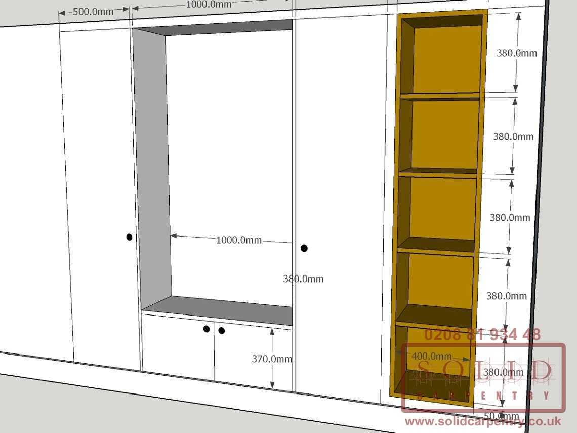 wardrobe with bookcase sketch