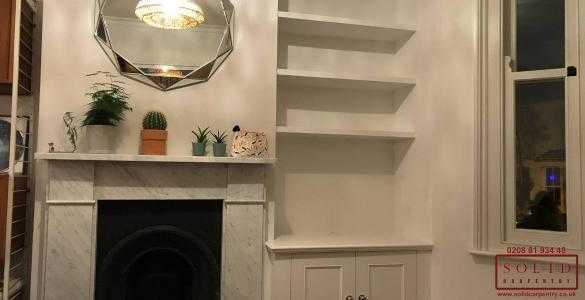 alcove unit with shelves