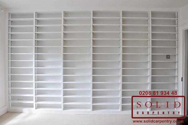 Wall to wall front view bookcase