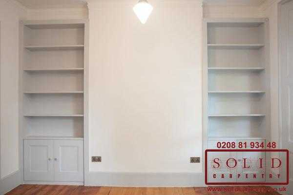 Alcove bookcases painted