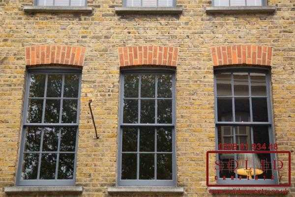 Gray sash windows