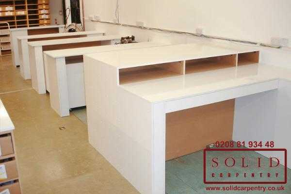 factory tables in white