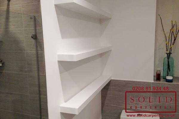 whithe bathroom shelves