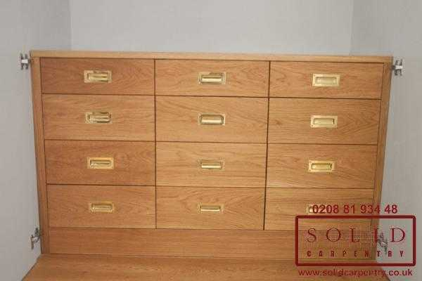 chest of drawers built into wardrobe