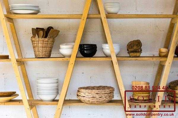 simple wooden shelves