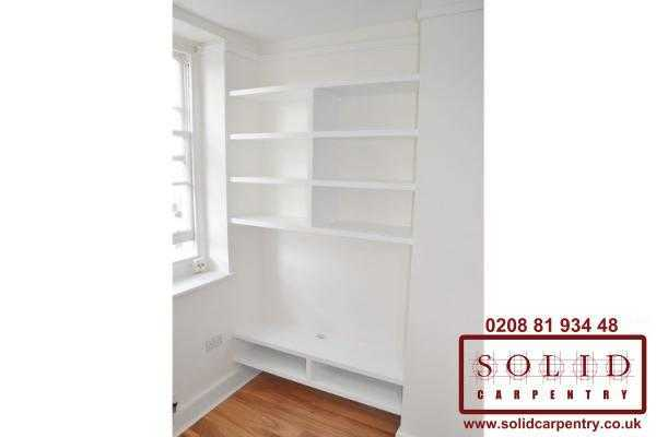 plain white floating shelves