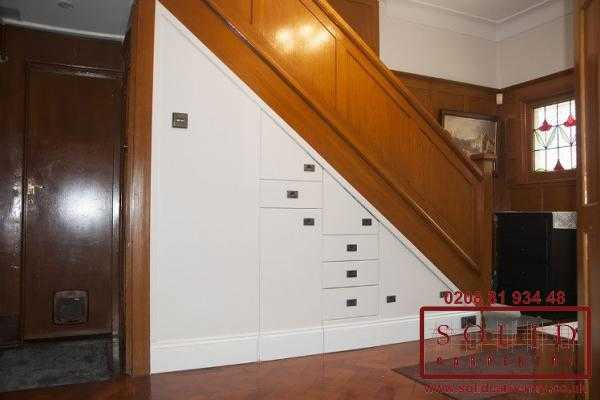 large storage under the stairs