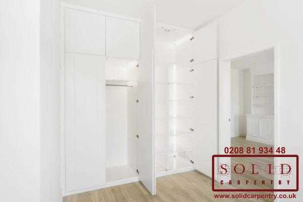 white wardrobe with built in led lights